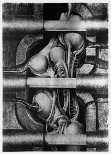 Biomechanoid 105- 100 × 80 cm - silkscreen in black on silver / 1969
